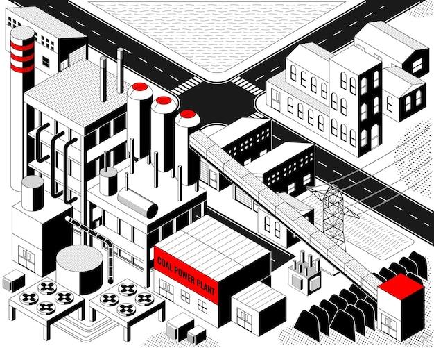 The coal energy, coal power plant with isometric graphic