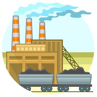 Coal energy power plant. energy concept illustration