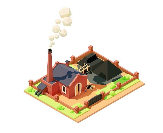 Угольный завод с дымом из трубы. завод или здание фабрики