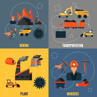 Coal industry flat set