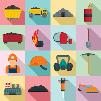 Coal industry icons set, flat style