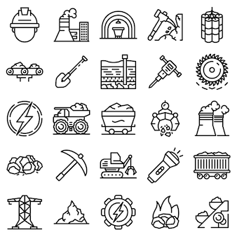 Coal industry icons set, outline style