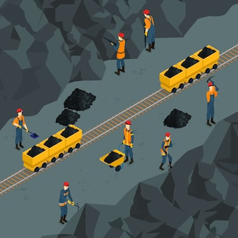 Coal industry isometric template