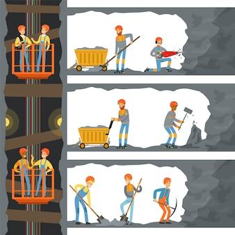 Угольная промышленность, шахта со многими уровнями, рабочие, лифт и техника.