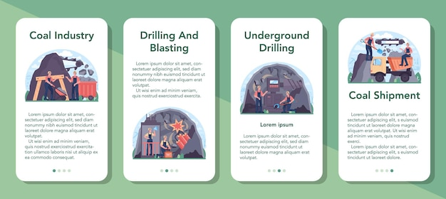 Coal industry mobile application banner set. mineral and natural resources extraction. mining and industrial exploration of crude coal. modern technology for power generation. vector illustration