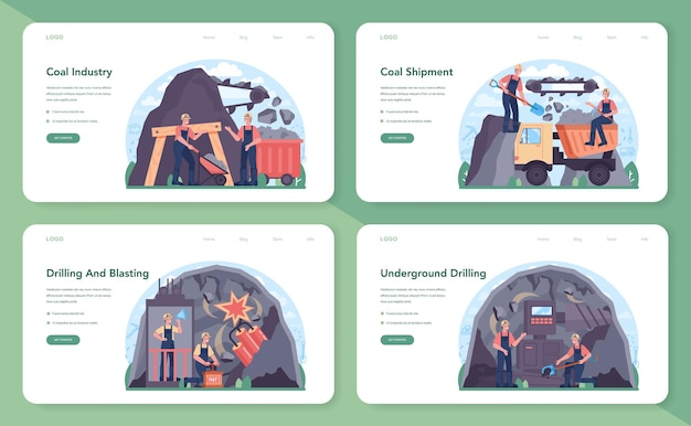 Coal industry web banner or landing page set. mineral and natural
