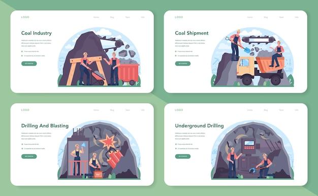 Набор веб-баннера угольной промышленности или целевой страницы. минеральное и натуральное