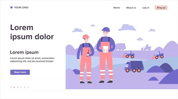Coal mine engineers wearing protective uniforms