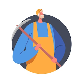 Coal mining concept. mine worker in uniform and helmet holding pickaxe in hands isolated icon. quarry miner at work