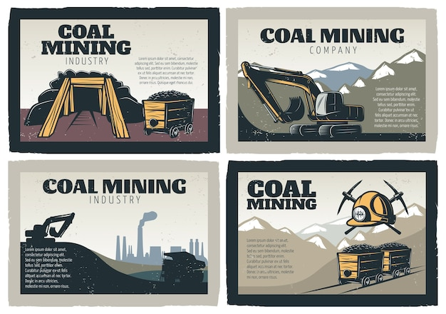 Coal mining designs illustrations set