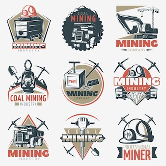 Coal mining emblems set