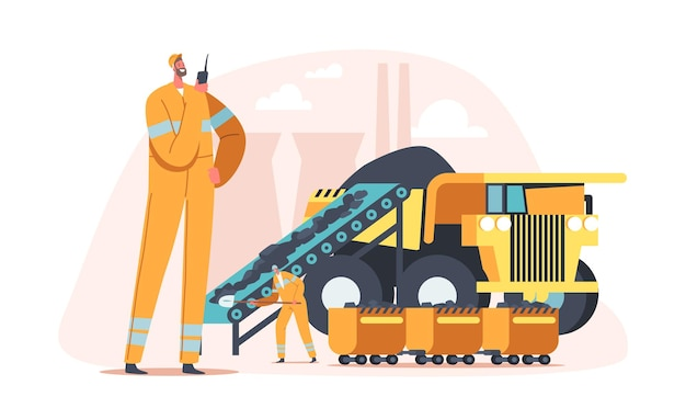 탄광, 추출 산업 개념. 트럭에 석탄을 싣고 있는 광부 캐릭터. 엔지니어는 운송 및 기술, 화석 산업 생산으로 채석장에서 작업합니다. 만화 사람들 벡터 일러스트 레이 션