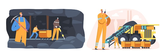 Coal mining industry concept. miner characters working on quarry with tools, transport and technique. industrial extraction technics, equipment and transportation. cartoon people vector illustration