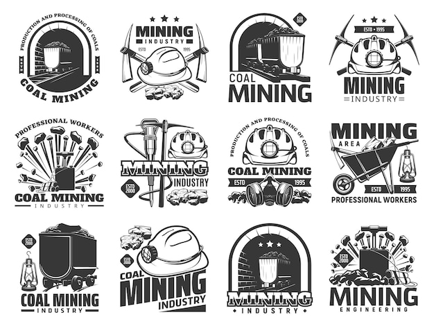 Coal mining industry icons, vector monochrome emblems with mine machinery and miner equipment or tools. metal ore, coal in trolley, jackhammer, pickaxe and hardhat with wheelbarrow isolated labels set