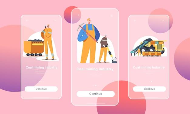 石炭鉱業モバイルアプリページオンボード画面テンプレート。ツール、輸送、技術を使って採石場で働くマイナーキャラクター。鉱物抽出の概念。漫画の人々のベクトル図