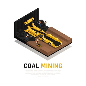 Coal mining isometric composition