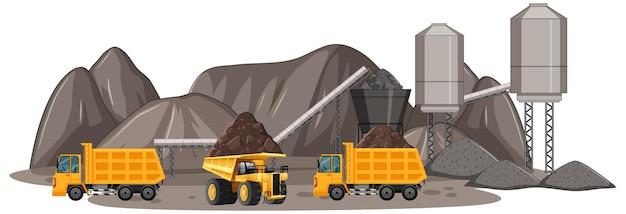 建設用トラックによる炭鉱シーン