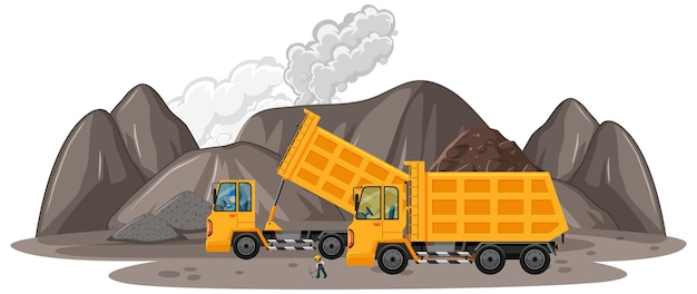 Coal mining scene with construction trucks