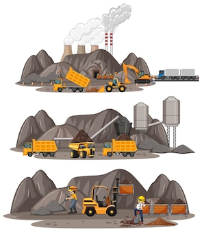 Coal mining scene with different types of construction trucks