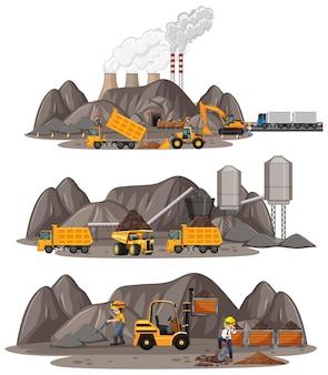 さまざまな種類の建設用トラックを使用した炭鉱シーン