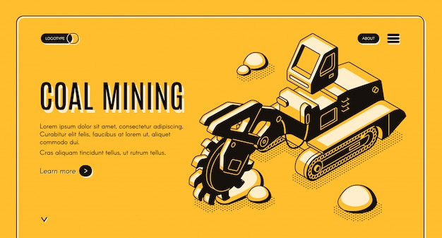 Coal mining web banner with bucket-wheel excavator working in quarry line art