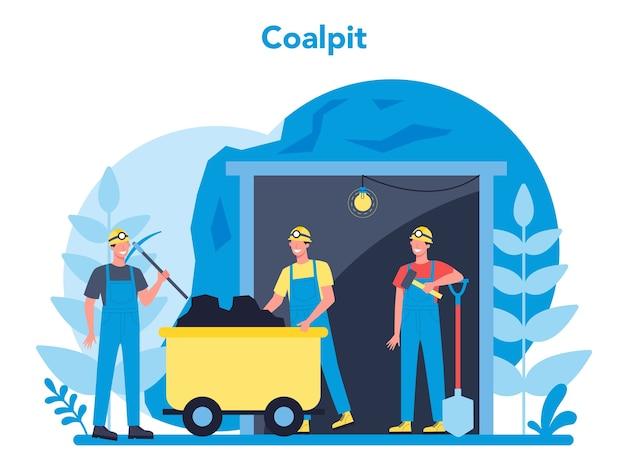 石炭または鉱物の採掘の概念。つるはし、削岩機、手押し車が地下で作業している制服とヘルメットの労働者。抽出業界の職業。