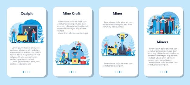 石炭または鉱物採掘モバイルアプリケーションバナーセット。つるはし、削岩機、手押し車が地下で作業している制服とヘルメットの労働者。抽出業界の職業。
