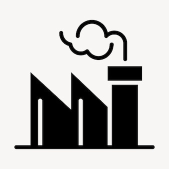 Coal plant emission icon  air pollution campaign in flat graphic