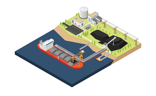 The coal ship unloading coal to the coal yard with isometric style