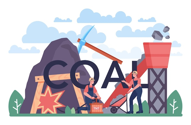 Coal typographic header. mineral and natural resources extraction. mining and industrial exploration of crude coal. modern technology for power generation. vector illustration