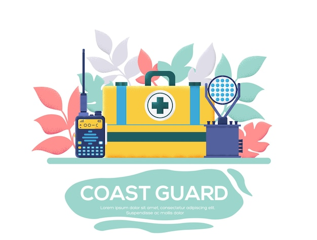 Coast guard equipment  flyer, magazines, poster, book cover, banners. invitation cards concept background. layout illustration modern slider page. grain texture and noise effect.
