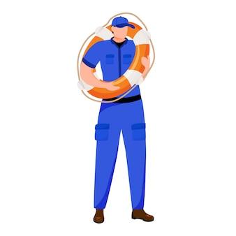 Coast guard flat  illustration. maritime security. safety equipment. marine lifeguard isolated cartoon character on white background