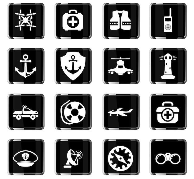 Береговая охрана векторные иконки для дизайна пользовательского интерфейса