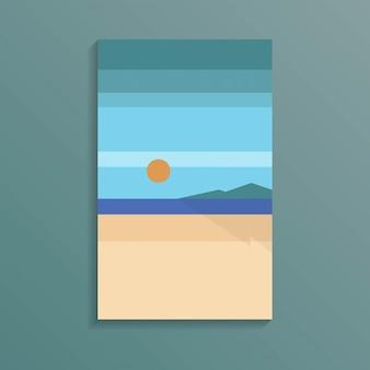 Побережье море вид на тропический океан белый песчаный пляж в минималистском стиле с красным солнцем