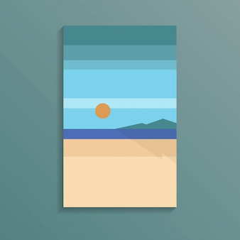 Coast sea view of the tropical ocean white sand beach in holiday minimal style with red sun