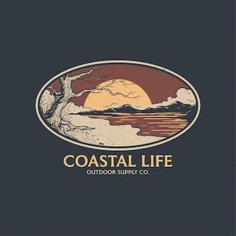 스티커, 티셔츠, 전체 벡터를 위한 해안 배지 디자인