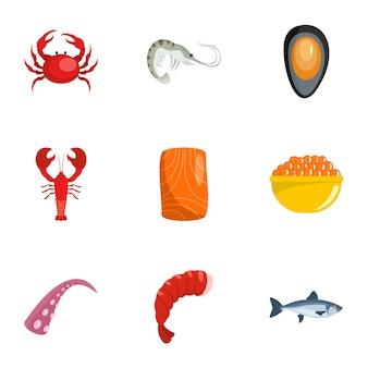 Coastal life icons set, cartoon style