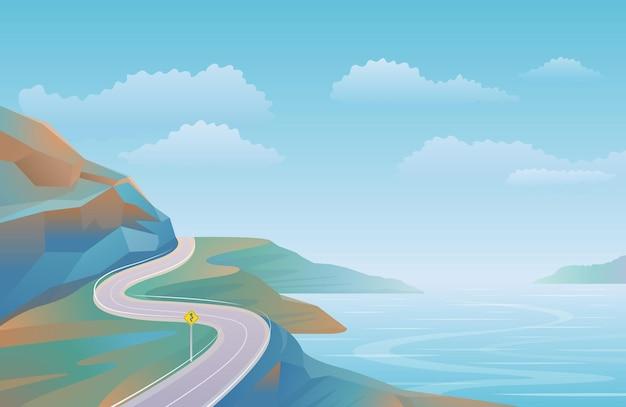 Прибрежная дорога пейзажный фон