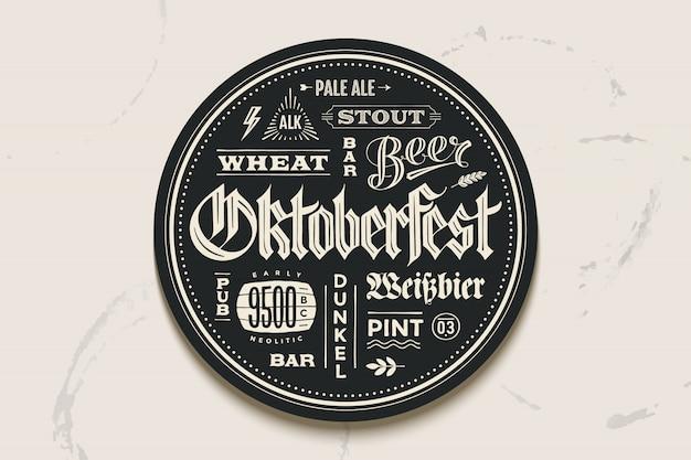 Подставка под пиво с надписью для фестиваля октоберфест