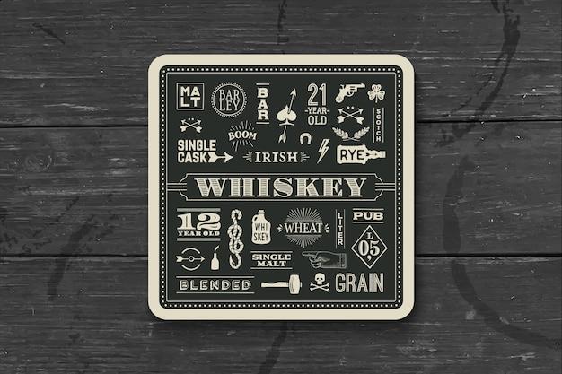 위스키 및 알코올 음료 용 코스터.