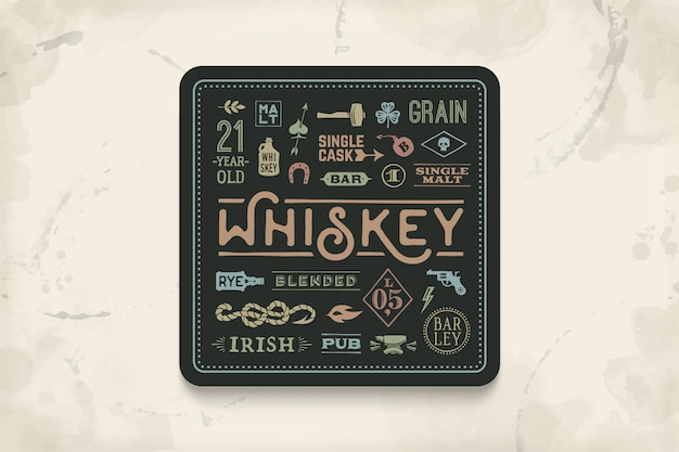 Coaster for whiskey and alcoholic beverages. vintage drawing for bar, pub and whiskey themes. black square for placing whiskey glass over it with lettering, drawings.  illustration