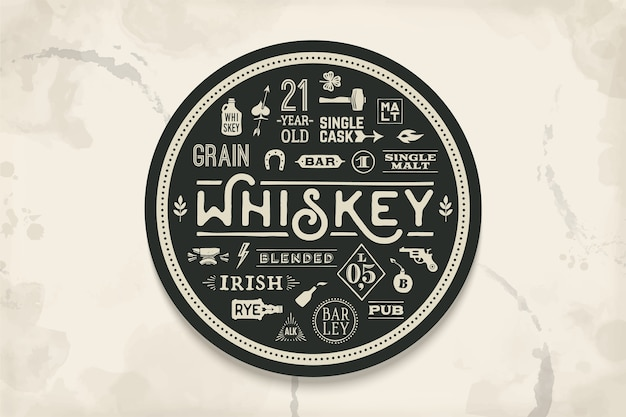 Coaster for whiskey and alcoholic beverages. vintage drawing for bar, pub and whiskey themes. black and white circle for placing whiskey glass over it with lettering, drawings.  illustration