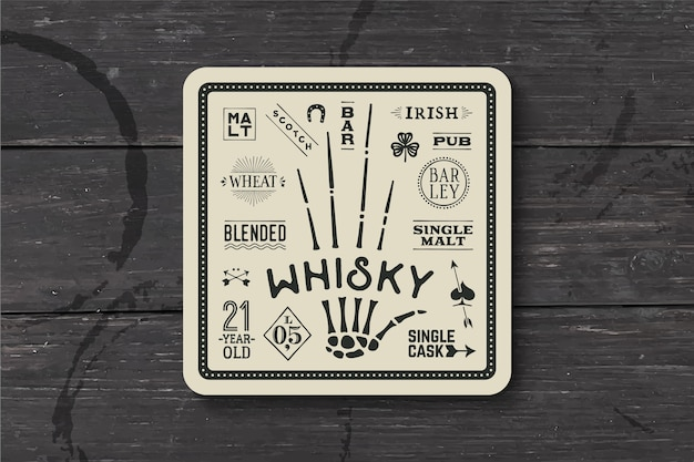 Coaster for whiskey and alcoholic beverages. vintage drawing for bar, pub and whiskey themes. black and white square for placing whiskey glass over it with lettering, drawings.