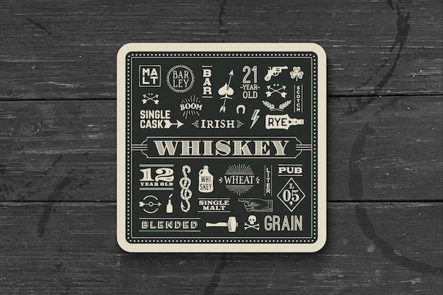 Coaster for whiskey and alcoholic beverages.