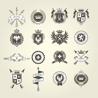 Coat of arms collection - emblems and blazons, heraldic crest with bow arrows