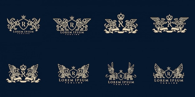 Coat of arms griffin logo pack vector