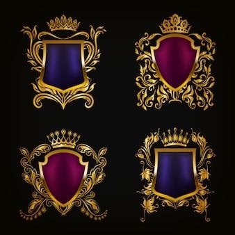 Coat of arms set decorative shields