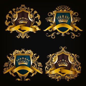 Coat of arms with crown set