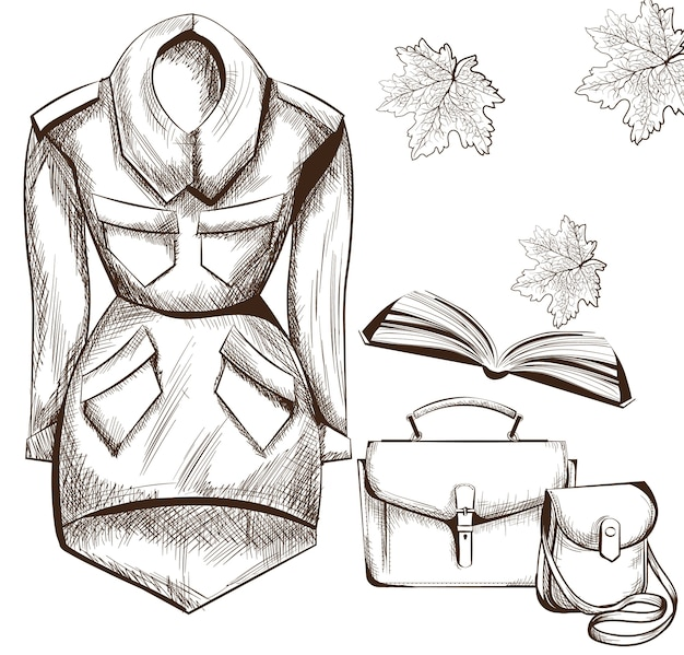 Coat, book and bags, fashion design clothings line art