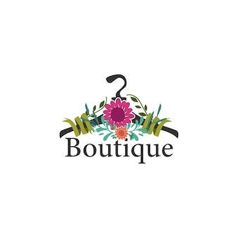 Coat hanger concept with flowers for a boutique logo template